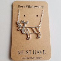 Moose Origami Necklace - Moose Origami Inspired Animal Necklace
