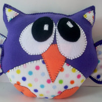 Purple and polka dot owl pillow, animal pillow, plushie owl, child's toy, childsafe pillow, handsewn owl, nursery, child bedroom
