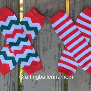 Christmas Leg Warmers, Red Leg Warmers, Baby Christmas Leggings, Girls Christmas Leg Warmers, Red Striped Leg Warmers, Chevron Leg Warmers