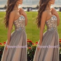 Sweetheart A-line Light Grey Handmade Beaded Floor Length Prom Dress, Homecoming Dress, Bridesmaid Dress