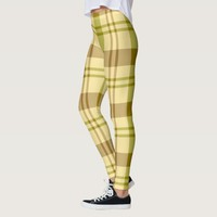 Lemon Lime Mustard Plaid Pattern Leggings