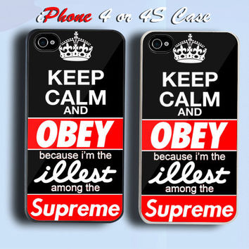 Keep Calm And Obey  Custom iPhone 4 or 4S Case Cover