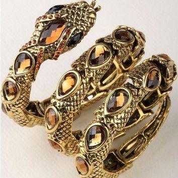 Stretch Snake Bracelet Armlet Upper Arm Cuff  for Women Punk Rock Crystal Bangle