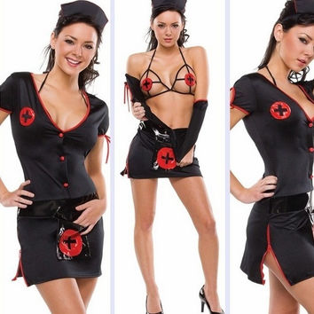 Black Sweet Nurse Women's Halloween Costume Sexy Dress Costume Black Lingerie Slutty Nurse Adult Costume For Women (Size: M, Color: Black) = 1958309124