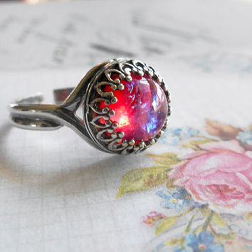 Mexican Opal Dragon's Breath Sterling Silver Ring Adjustable