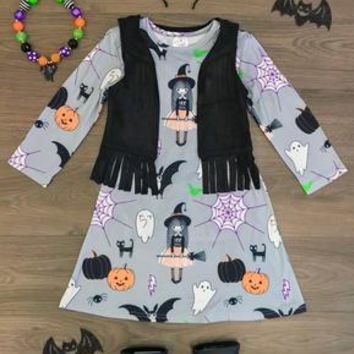 GRAY HALLOWEEN FRIENDS FRINGE VEST DRESS