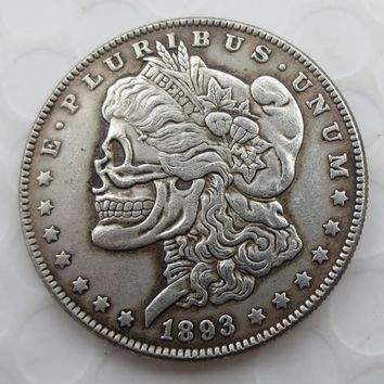 US Head-To-Head Two Face 1893/1922 Morgan Dollar and Peace Dollar skull zombie skeleton hand carved Copy Coins