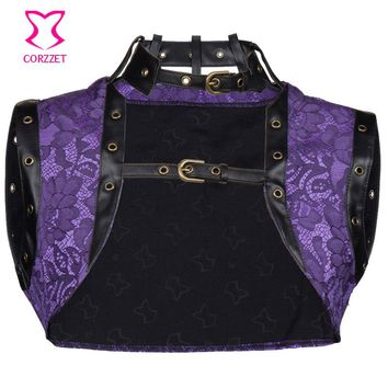 Floral Pattern Brocade Leather Trim Plus Size Women Jacket Steampunk Clothing Sleeveless Vest Bolero Gothic Corset Accessories
