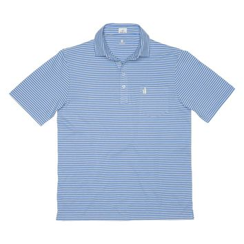 Macon Striped 4-Button Polo in French Blue by Johnnie-O