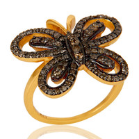 18K Gold Plated Sterling Silver Diamond Butterfly Designer Ring