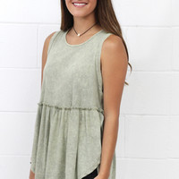 Side Slit Ribbed Babydoll Tank {Sage}