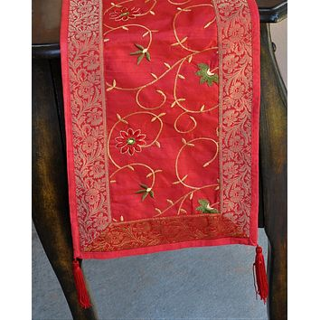 """Deep Red Luxury Silk Table Runner with Brocade Border in Gold 60"""" x 12"""""""
