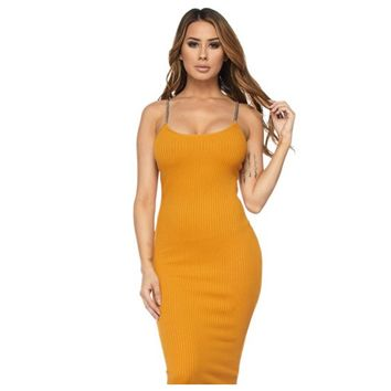 Ribbed Chain Me Down Dress Mustard