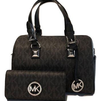 ONETOW MICHAEL Michael Kors Grayson MD Chain Satchel bundled with Michael Kors Fulton Flap Continental Wallet