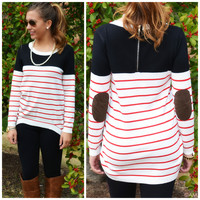 Black Striped Elbow Patch Top