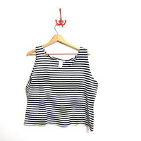 Vintage oversized striped tank top. cropped tank. women's size XXL