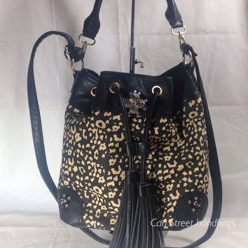Animal Print Bucket Bag.  Faux Leather Embellished with Swarovski Crystals.