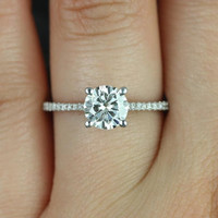 Eloise 6.5mm Size 14kt White Gold Round FB Moissanite and Diamonds Cathedral Engagement Ring (Other metals and stone options available)