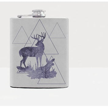 Deer hip flask - Gift for him - Hip flask - Gift for men - Gifts for men - Hip fasks - Flask -Whiskey - Alcohol - Gray - Funny - 21 birthday