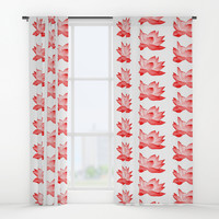 Red Lotus Pattern Window Curtains by Paula Oliveira