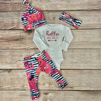 Hello world / Hello World outfit / Hello world Onesuit / Newborn outfit / baby girl outfit / coming home outfit / leggings / knot beanie