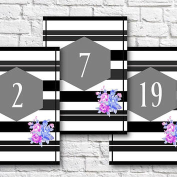 Wedding and  Event Flowery Table Numbers 1-20. 5x7 inches. Instant digital download printable PDF file. Stationery. Table decoration.