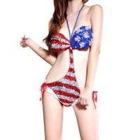 My Associates Store - LOCOMO Sexy Sequin Metallic Knit Crochet US United States American Flag Bathing Suit Swim Wear Bikini Monokini Exotic FFS003 One Size Blue Red White