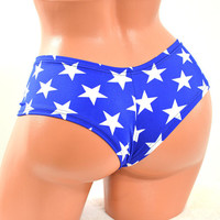 Blue and White Star Print Lowrise Ultra Cheeky Booty Shorts Wonder Woman Inspired Cheekies -E7312