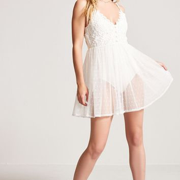 Sheer Mesh Overlay Cami Dress
