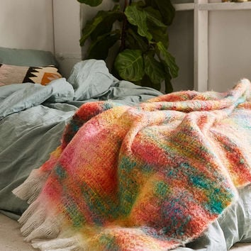 Sherbet Faux Mohair Throw Blanket - Urban Outfitters