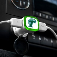 NCAA Tulane Green Wave Car Charger, White