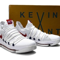Nike Zoom KD 10 White/Red Basketball Shoe