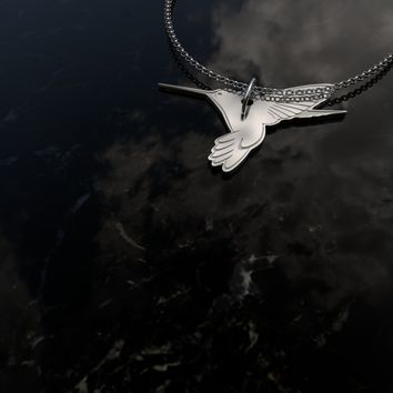 Custom Engraved Sterling Silver Humming Bird Necklace