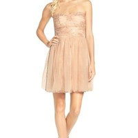 Junior Women's a. drea Sequin and Tulle Strapless Dress,
