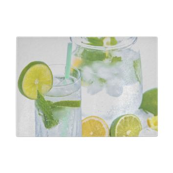 Lemon-Lime Water Glass Cutting Board