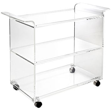 Hostess Acrylic Serving Cart, Clear, Acrylic / Lucite, Bar Carts