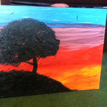 16x20 canvas sunset painting by WithLoveDarling on Etsy