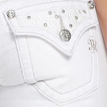 Miss Me Jeans, Skinny White-Wash Embroidered Rhinestone - Womens Miss Me Jeans - Macy's