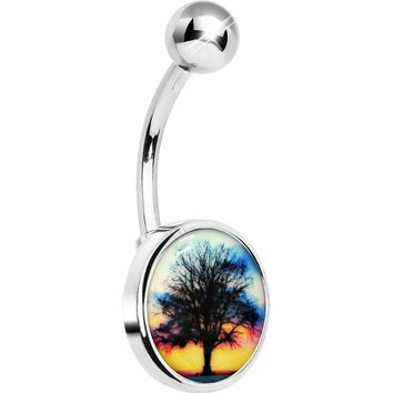Glow in the Dark Sunset Tree Belly Ring