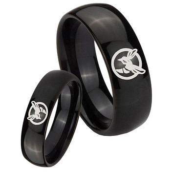 Bride and Groom Honey Bee Dome Black Tungsten Carbide Mens Engagement Ring Set