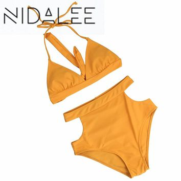 NIDALEE High Waist Swimsuit Solid Bikinis Women Bandage Top Push Up Bikini Set Swimwear Female Bathing Suits Beach Wear Swim