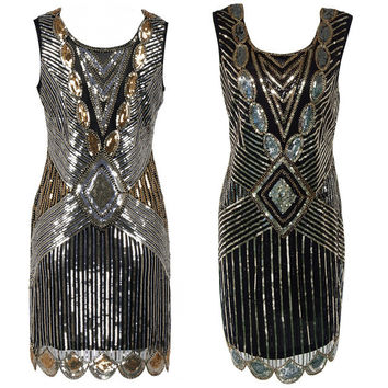 Sequin Beading Vintage Flapper Dresses Roaring 1920s Gatsby Themed Party Dress  Girl Loose Type Sleeveless Event Dress