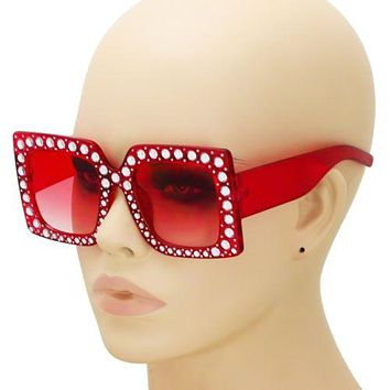 NEW Oversized Vintage Retro Red Thick Square Frame Bling Rhinestone Sunglasses