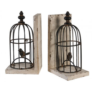 Vintage Bird Cage Bookends