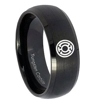 10MM Blue Lantern Brush Black Dome Tungsten Carbide Men's Ring