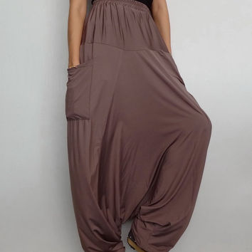 Women Harem Drop Crotch Pant,Unisex Baggy Yoga Trouser, Pine Cone Tan Spandex (pants-S1).