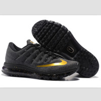 """NIKE"" Trending AirMax Toe Cap hook section knited Fashion Casual Sports Shoes Black golden hook(black-golden starry sky soles)"