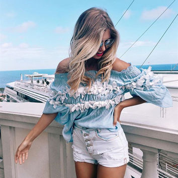 Full Sleeve Chiffon Blouse Floral Wrapped Chest Top straight Collar beach