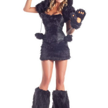 Black Bear Costume Corset Top With Furry