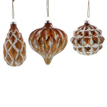 Genevieve Glass Ornaments - Set of Three in Copper and White